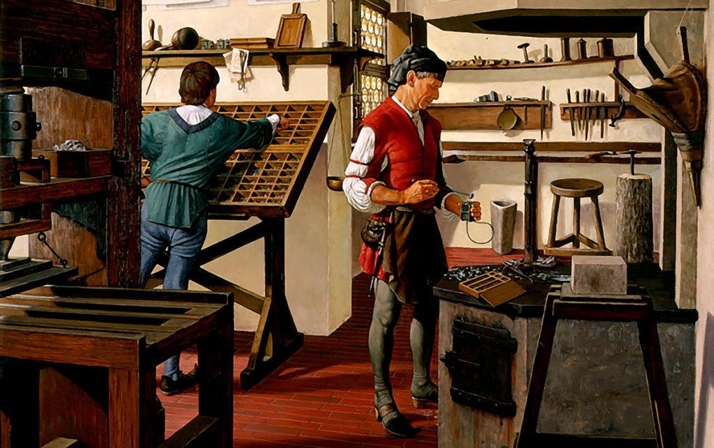 Dentro del taller de imprenta manual. Pintura de Robert Alan Thom