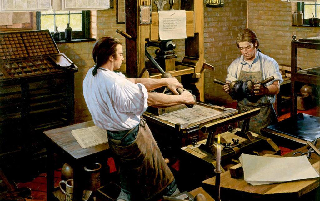 El tirador y el batidor en la prensa. Pintura de los talleres de imprenta de Robert Alan Thom