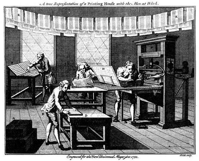 Taller de imprenta en 1752 New Universal Magazine