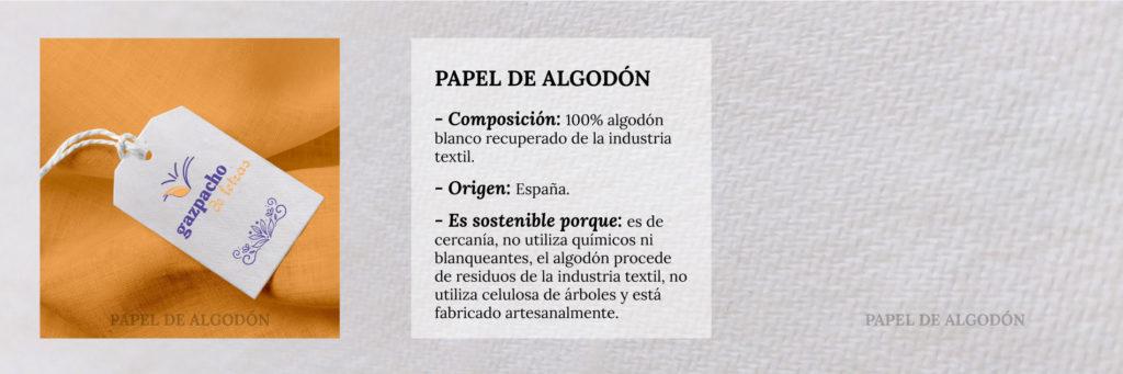 Tríptico con información sobre el papel de algodón